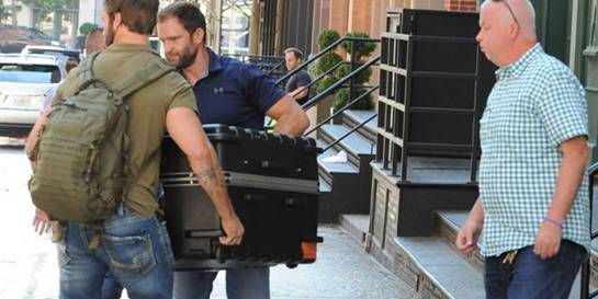 Taylor Swift being transported in a huge suitcase from her Tribeca apartment into her truck, in the trunk. A fleet of cars including two large cadillacs and three suv's arrive at Tailor Swift's apartment in Tribecca to move a large suitcase from apartment to truck. Almost a dozen of Taylor Swift security guards were present to move this package carefully as Taylor Swift remains to be unseen for a long time. Pictured: Taylor Swift Ref: SPL1539678 170717 NON-EXCLUSIVE Picture by: SplashNews.com Splash News and Pictures Los Angeles: 310-821-2666 New York: 212-619-2666 London: 0207 644 7656 Milan: 02 4399 8577 <a href=